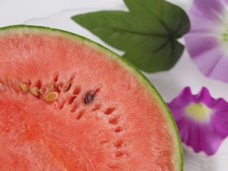 watermelon and morning glory Stock Photo