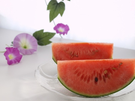 watermelon and morning glory Stock Photo