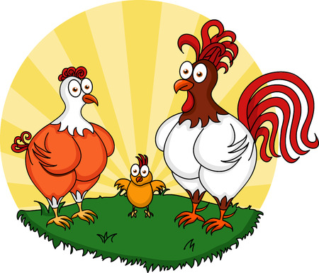 Illustration of funny chickens standing on the grass Vector