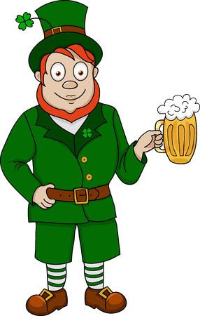 Illustration of funny leprechaun with mug of beer on white background Vector