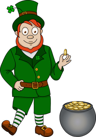 Illustration of funny leprechaun with pot of coins on white background Vector