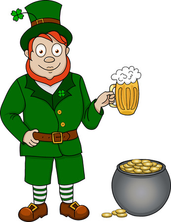 Illustration of funny leprechaun with beer and pot of coins on white background Vector