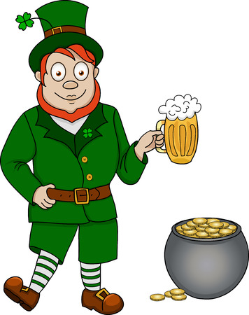 Illustration of funny leprechaun with glass of beer and pot of coins on white background Vector