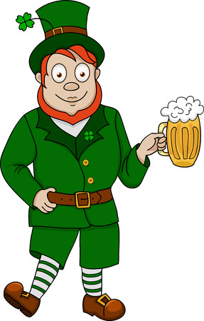 Illustration of funny leprechaun with beer on white background Vector