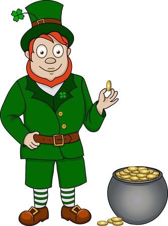 Illustration of funny leprechaun with coins on white background Vector