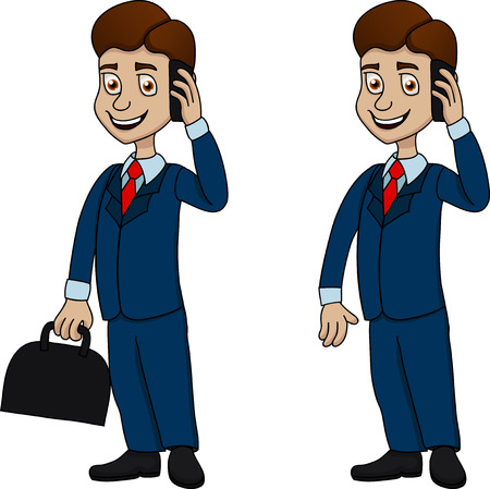 wading: Illustration of funny businessman with mobile phone and suitcase