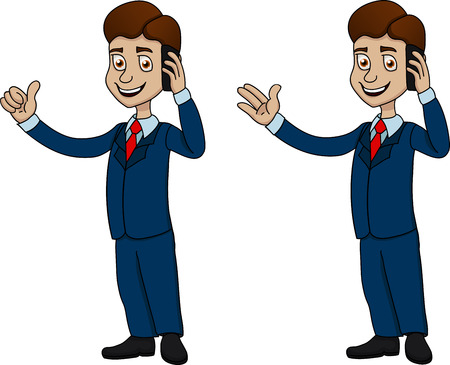 button up shirt: Illustration of funny businessman with mobile phone and big thumb up