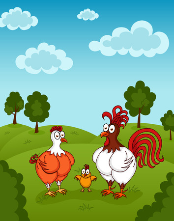 Illustration of funny chickens standing on meadow Vector