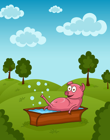 pinky: Vector illustration of funny pinky pig in washtub Illustration