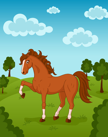 hayfield: Illustration of brown horse on meadow