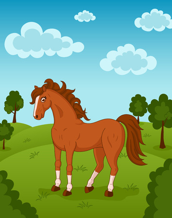 brown horse: Illustration of brown horse on meadow