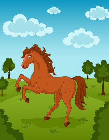 brown horse: Illustration of beautiful brown horse on meadow