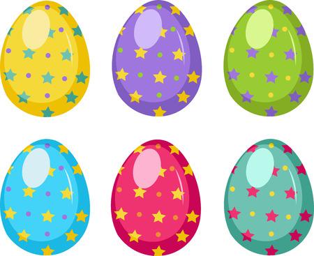 Illustration of easter eggs on white background