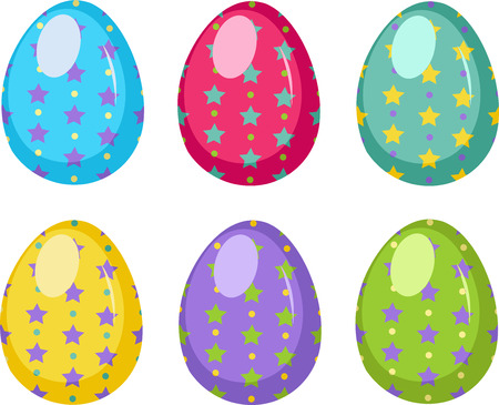 canvass: Illustration of easter eggs on white background