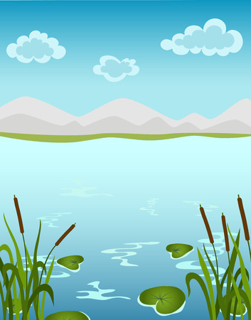illustration of a beautiful landscape with water lily Vector
