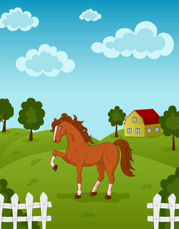 brown horse: Vector illustration of brown horse on a farm