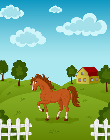 hayfield: Vector illustration of brown horse on a farm