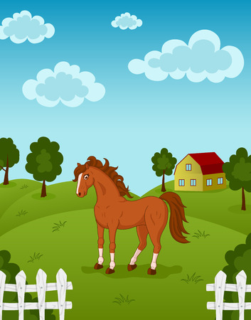 Vector illustration of brown horse on a farm