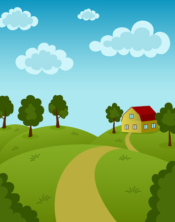 Landscape with house and road Vector