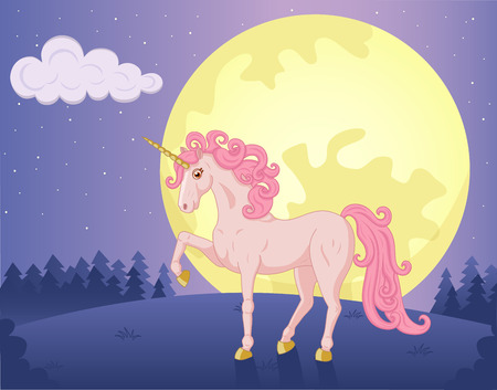 Illustration of night landscape with beautiful Unicorn Vector