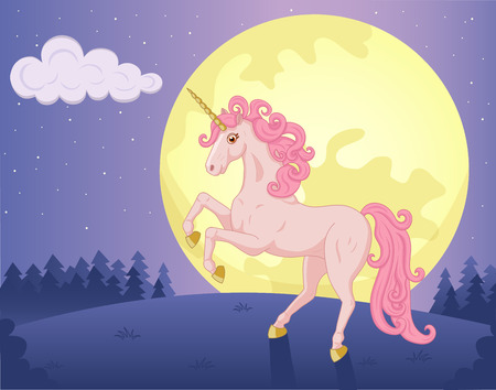 Illustration of night landscape with beautiful pink Unicorn Vector