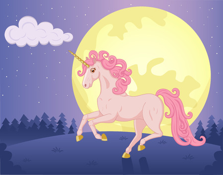 Illustration of night landscape with beautiful running Unicorn Vector