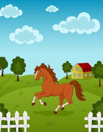 gait: Illustration of beautiful horse running on farm meadow Illustration