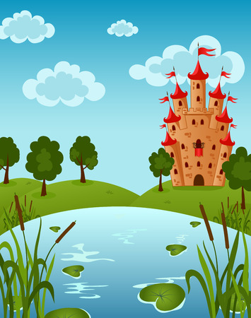 Vector illustration of the Castle on the Lake with water lily Illusztráció