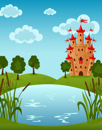 Vector illustration of the Castle on the Lake Vector