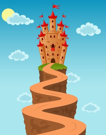 rural road: Vector illustration of the Castle on the rock Illustration