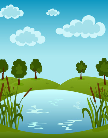 ponds: Vector illustration of the Lake