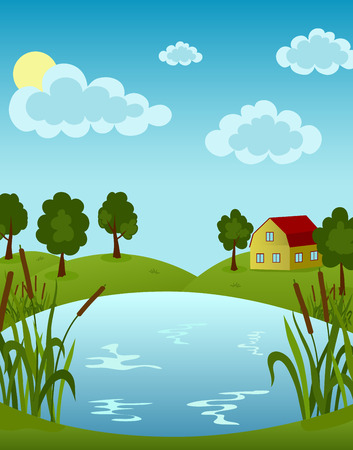 lake house: Illustration of house on the Lake in sunny day