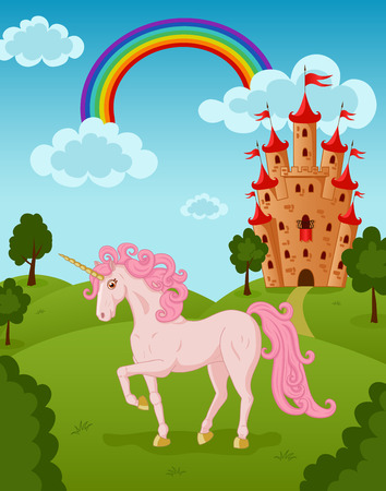 Illustration of beautiful unicorn with castle and rainbow Vector