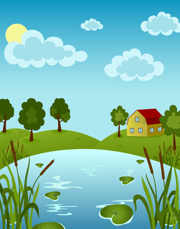 Illustration of house on the Lake with water lily in sunny day Stock Illustratie