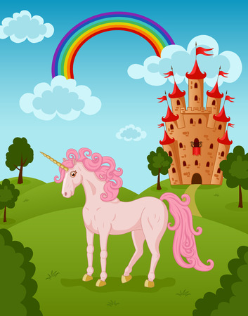unicorn: Illustration of standing unicorn with castle and rainbow