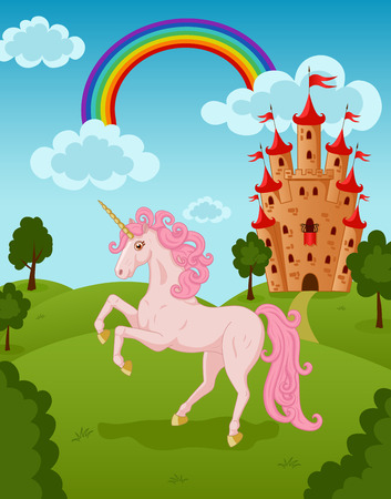 Illustration of pink unicorn with castle and rainbow