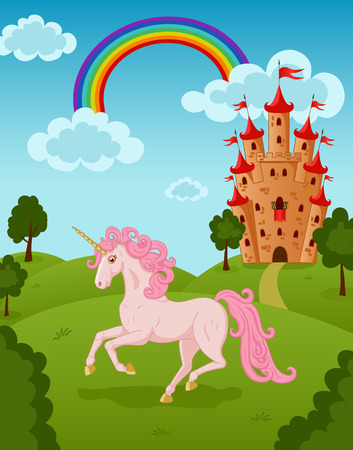 Illustration of running unicorn with castle and rainbow Vector