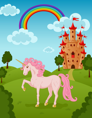 Illustration of walking unicorn with castle and rainbow Vector