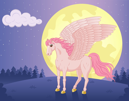 Vector illustration of beautiful standing Pegasus and big moon Vector