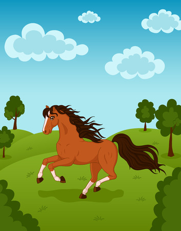 Vector illustration of wild running horse