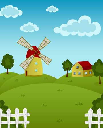 barnhouse: Vector illustration of farm with a windmill