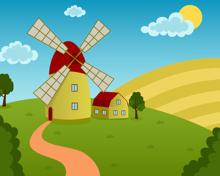Vector illustration of a windmill and house on the field Vector