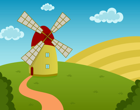Vector illustration of a windmill on the field Vector