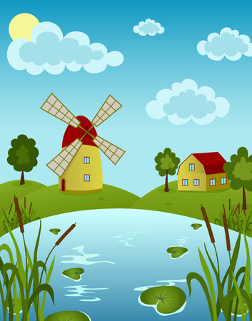 illustration of a windmill and house on the pond with water lily Vector