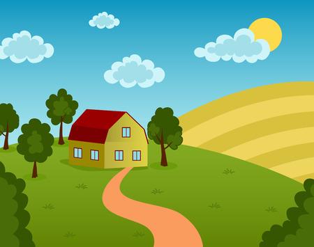 barnhouse: Vector illustration of a farm house on the field