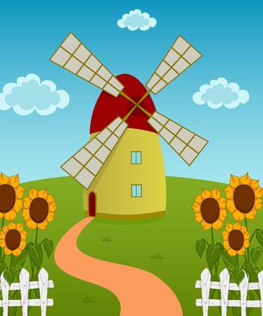 barnhouse: Vector illustration of a windmill on the sunflowers field Illustration