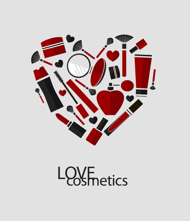 gloss: Vector heart of flat cosmetics icons and makeup design elements. Love cosmetics.