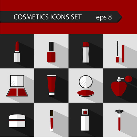 Flat vector cosmetics icons and makeup design elements set for website