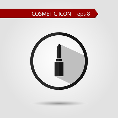 lip stick: Vector stylish flat icon of lip stick with long shadow effect of beauty and cosmetics. Illustration