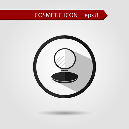 perfumery: Vector stylish flat icon of compact powder with long shadow effect of beauty and cosmetics.